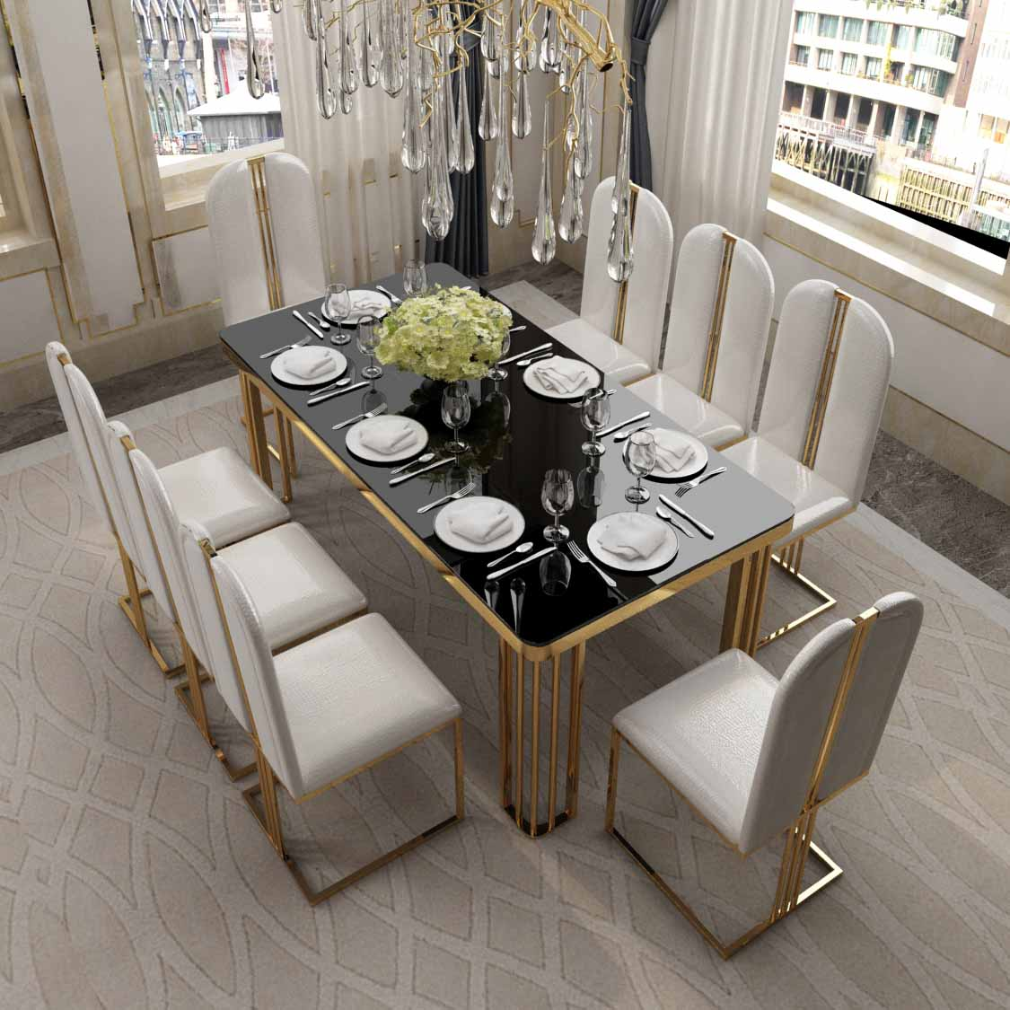Modern Luxury Restaurant Banquet High Back Golden Stainless Steel Leg Velvet/Leather Dining Armless Chair