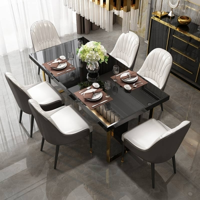 Artificial Korean Italian Dubai Black Rectangle Luxury 6 8 10 12 Seater Marble Top Dining Table Sets Table Defaico Furniture Company Limited