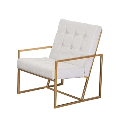 Bequest Antique Gold Stainless Steel Faux Leather/White Linen Fabric Accent Chair Tufted Button Back