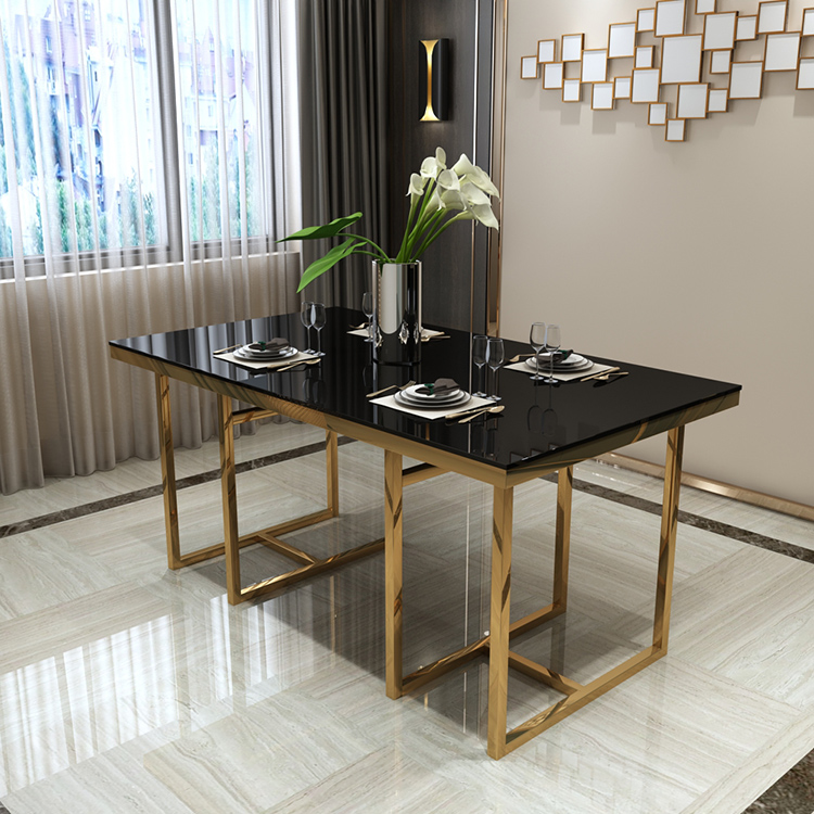 High End Modern 5 Stars Hotel Project Villa Rectangular Black Marble Top Classic Luxury Dining Table Set Table Defaico Furniture Company Limited