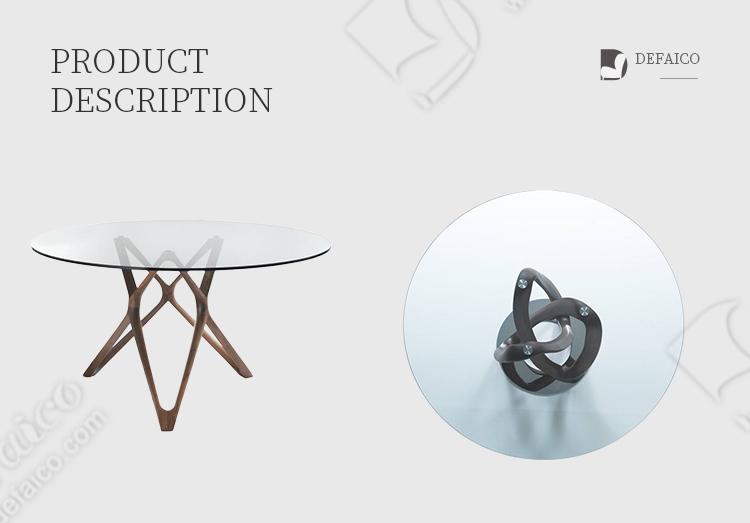 Glass Top Circle Dining Tablecle Coffee Table With Solid Wood Frame Modern Luxury In Dining Room Hotel Lobby Table Defaico Furniture Company Limited