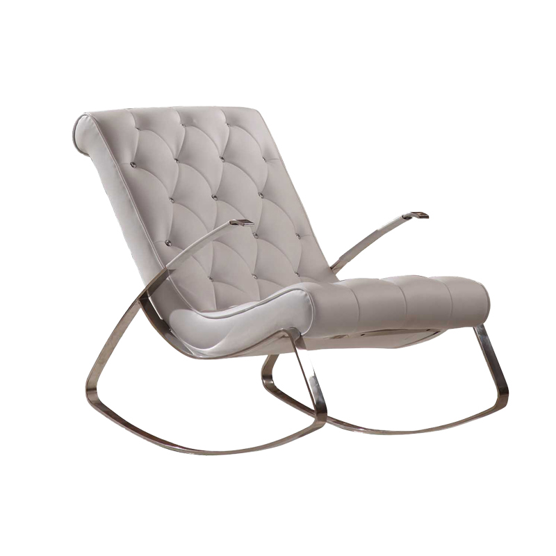 Modern & Fancy Leather Cheap Rocking Chairs Buckle Design And Armrest In Office Living Room Leisure Area