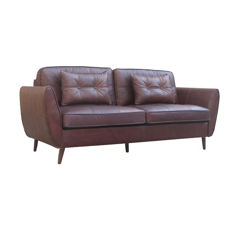 3S Brown Antique Genuine Leather Sofa With Cushion And Pillows Living Room Hotel Club