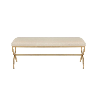 White Rectangle Chinese Real Leather Bench Gold Stainless Steel Creative Legs For Living Room Bedroom