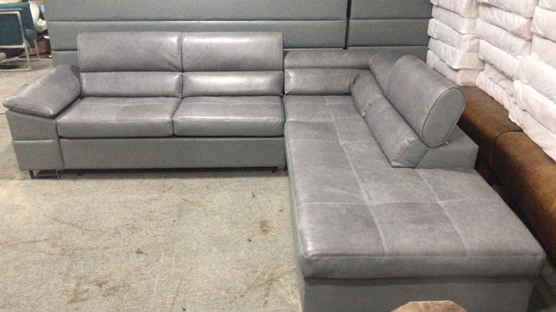 Grey Sectional Pu/Genuine Leather Sofa Bed Design Modern With Soft Cushion Use In Living Room Lounge