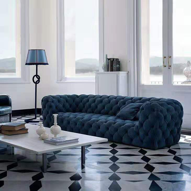 Modern Luxury Blue Velvet Sofa Living Room For Sale With Buckle Use In Hotel Club Reception Sofa Defaico Furniture Company Limited